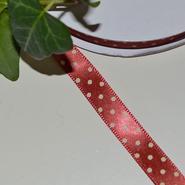 Satinband - rött med prickar