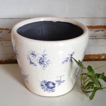 Kruka - Blå blommor